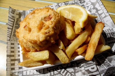Fish cake and Chips.